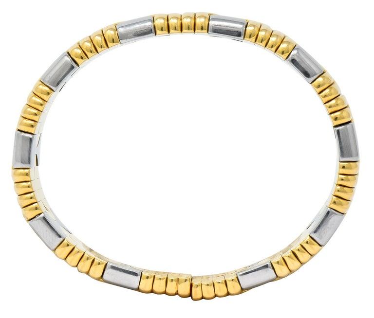 Bulgari 18 Karat Gold Stainless Steel Parentesi Bangle Bracelet In Excellent Condition In Philadelphia, PA