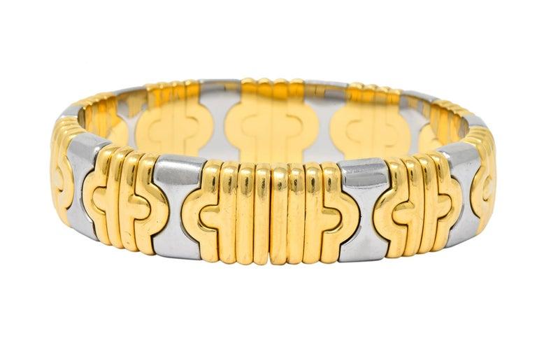 Women's or Men's Bulgari 18 Karat Gold Stainless Steel Parentesi Bangle Bracelet
