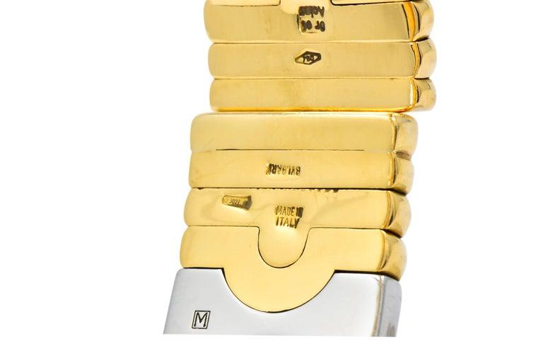 Bulgari 18 Karat Gold Stainless Steel Parentesi Bangle Bracelet 1