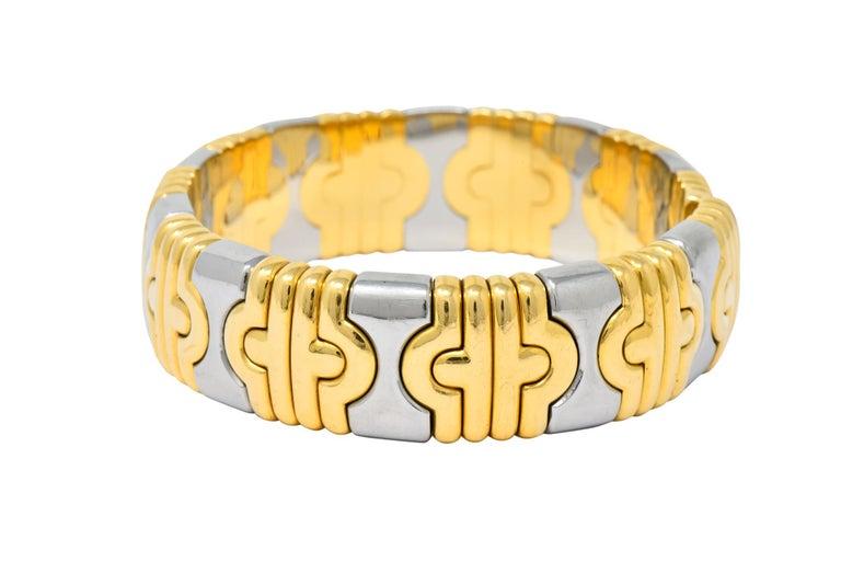 Bulgari 18 Karat Gold Stainless Steel Parentesi Bangle Bracelet 2