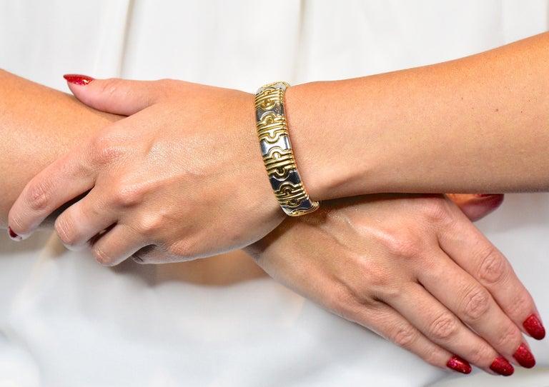 Bulgari 18 Karat Gold Stainless Steel Parentesi Bangle Bracelet 3