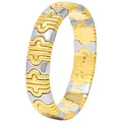 Bulgari 18 Karat Gold Stainless Steel Parentesi Bangle Bracelet