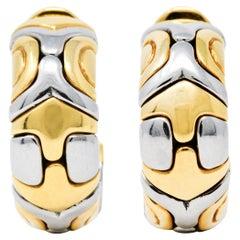 Bulgari 18 Karat Gold Stainless Steel Parentesi Ear-Clip Earrings
