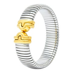Bulgari 18 Karat Gold Steel Parentesi Tubogas Cuff Bracelet