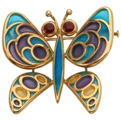 Bulgari 18 Karat Gold Vitrum Pastae Butterfly Brooch