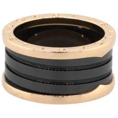 Bulgari 18 Karat Rose Gold B Zero Black Ceramic Ring