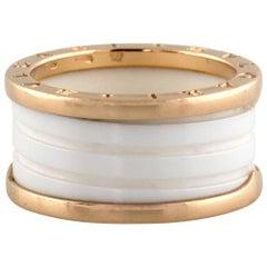 Bulgari 18 Karat Rose Gold B Zero White Ceramic Ring