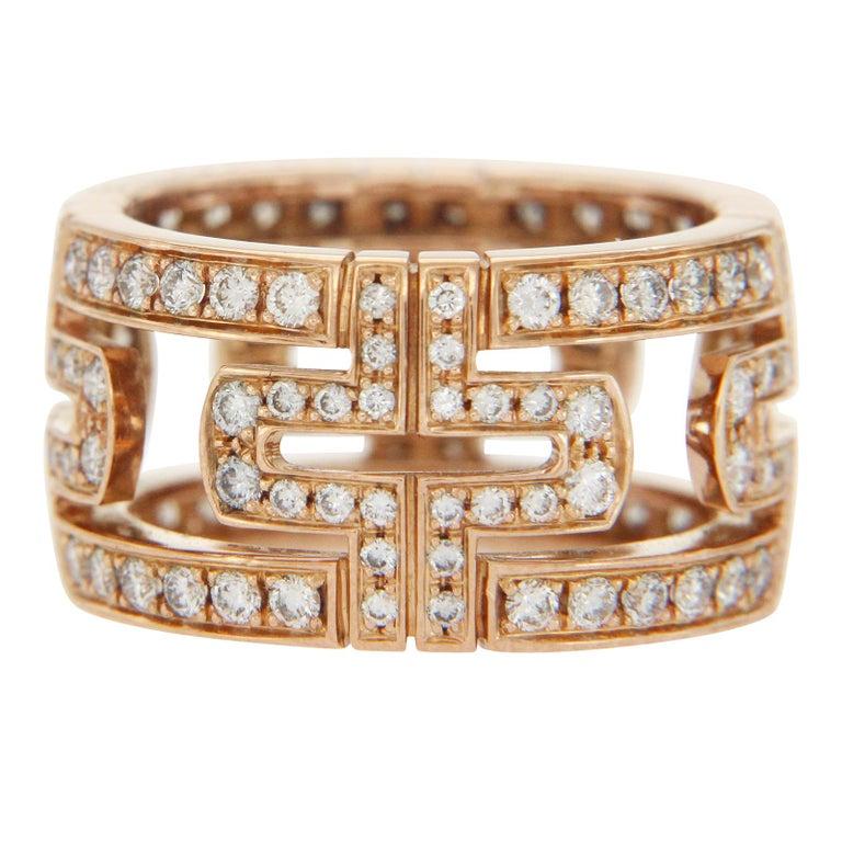 d01671127 Bulgari 18 Karat Rose Gold Diamond Parentesi Pavé Eternity Ring For Sale