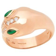 Bulgari 18 Karat Rose Gold Round Cut Diamond and Malachite Serpenti Ring