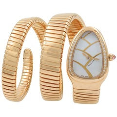 Bulgari 18 Karat Rose Gold Serpenti Diamond Triple Wrap Ladies Watch SPP35G