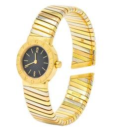 Bulgari 18 Karat Tri-Color Gold Tubogas Serpenti Flex Band Quartz Wrist Watch