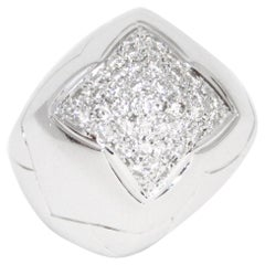 Bulgari 18 Karat White Gold and Diamonds Pyramide Ring