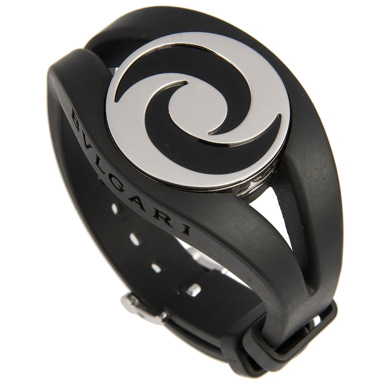 Bulgari 18 Karat White Gold and Onyx Optical Illusion Spinning Ring and Bracelet For Sale 2