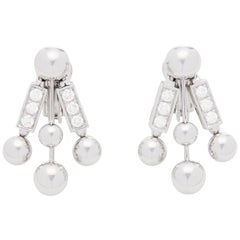 Bulgari 18 Karat White Gold Diamond Drop Earrings