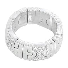 Bulgari 18 Karat White Gold Expandable Parentesi Ring, 18 Karat White Gold Bvlga
