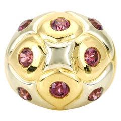 Bulgari 18 Karat White Yellow Gold Pink Tourmaline Bombe Ring