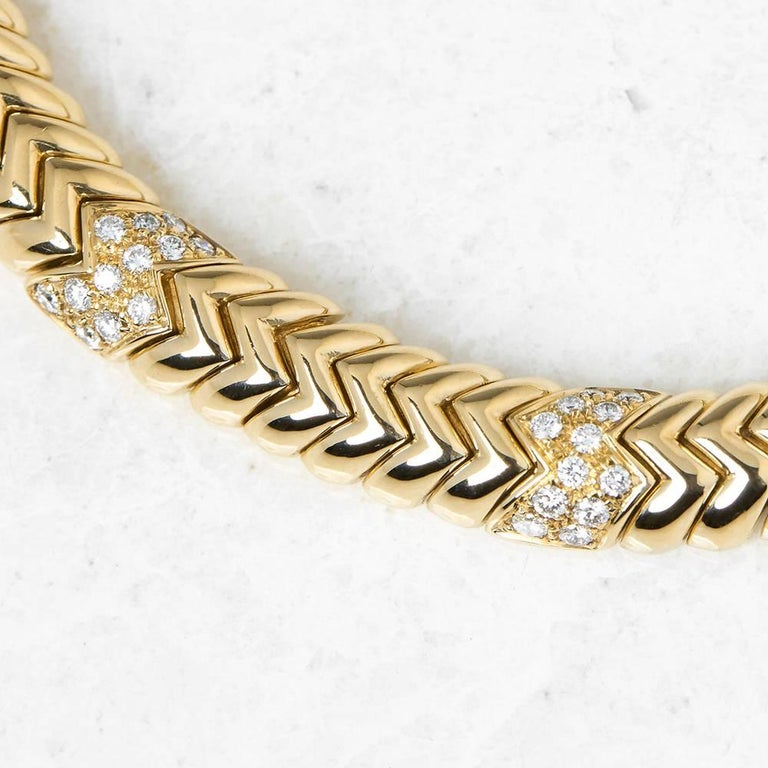 Modern Bulgari 18 Karat Yellow Gold 3.00 Carat Diamond Link Statement Necklace For Sale