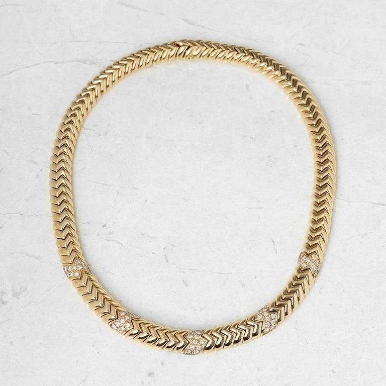 Bulgari 18 Karat Yellow Gold 3.00 Carat Diamond Link Statement Necklace For Sale 1