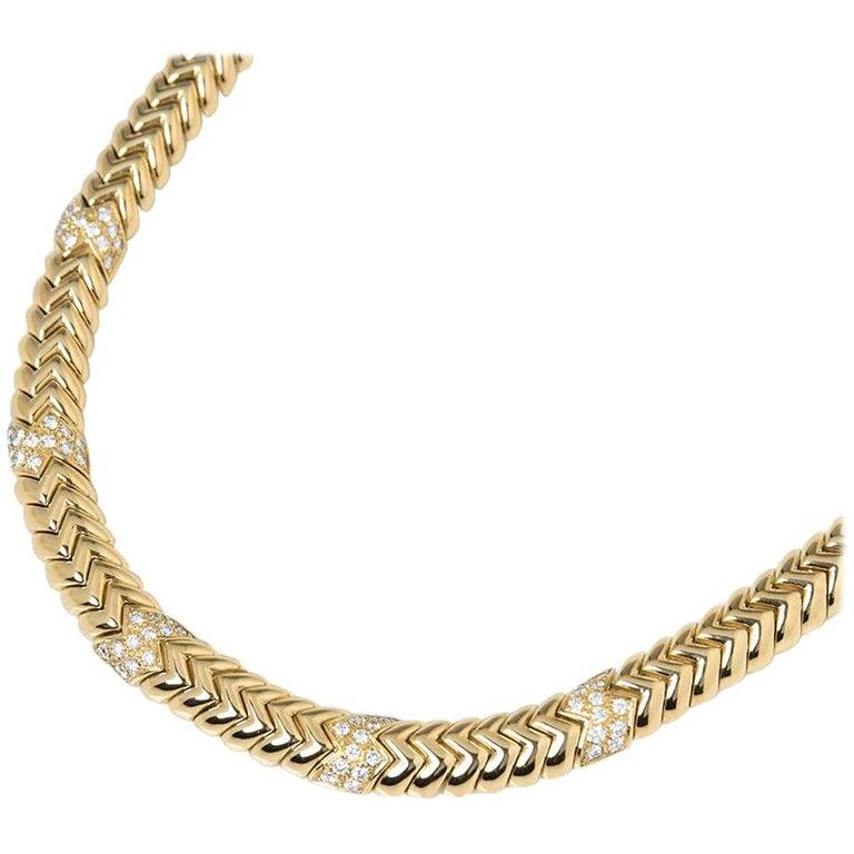 Bulgari 18 Karat Yellow Gold 3.00 Carat Diamond Link Statement Necklace For Sale