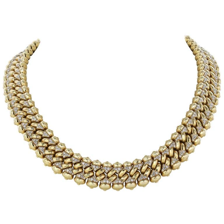 Bulgari 18 Karat Yellow Gold and Diamond Necklace For Sale