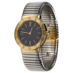 Bulgari 18 Karat Yellow Gold and Stainless Steel Tubogas Watch, Size Medium
