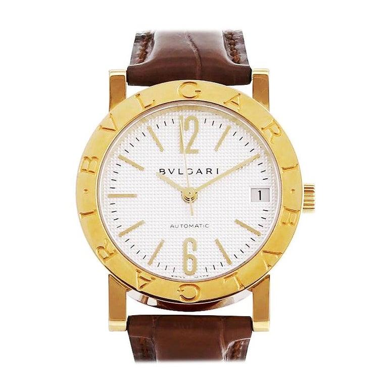 Bulgari 18 Karat Yellow Gold Automatic Watch BB33GL For Sale