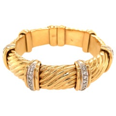 Bulgari 18 Karat Yellow Gold Diamond Cuff Vintage Bracelet