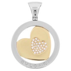 Bulgari 18 Karat Yellow Gold Diamond Tondo Heart Cord Necklace