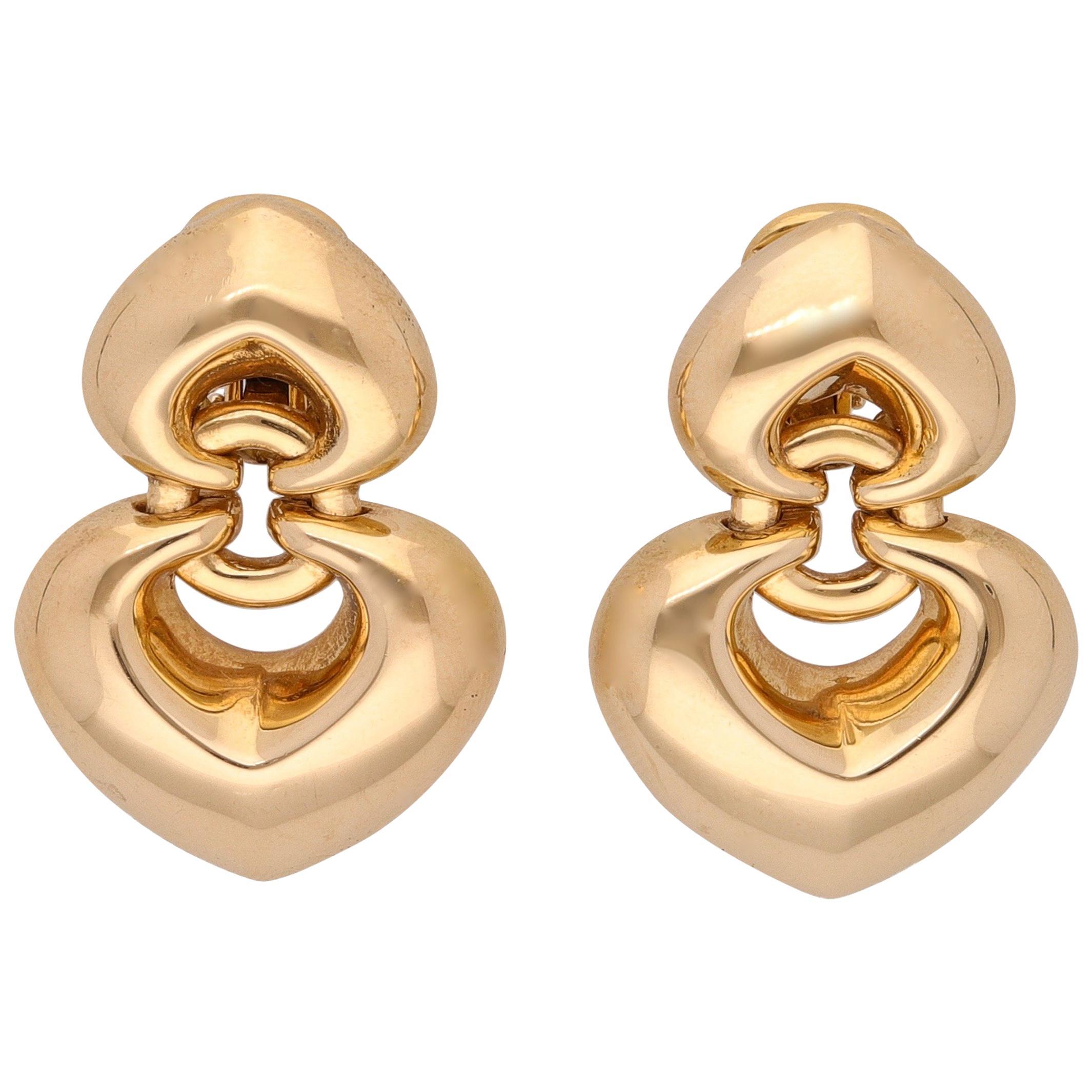 Bulgari 18 Karat Yellow Gold Double Heart Earrings