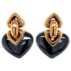Bulgari 18 Karat Yellow Gold Double Heart Earrings with Hematite
