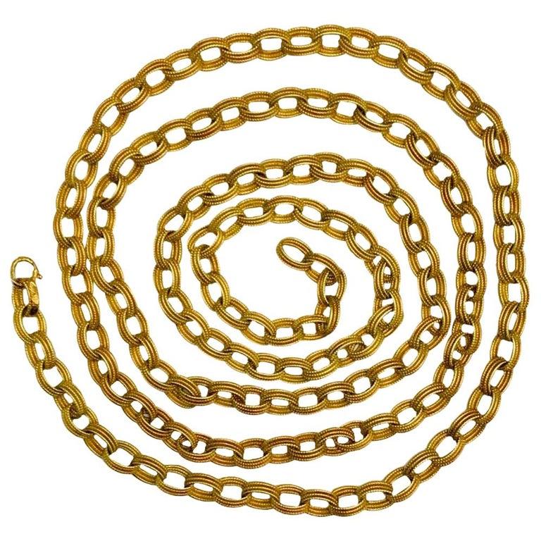 Bulgari 18 Karat Yellow Gold Long Chain Link Necklace