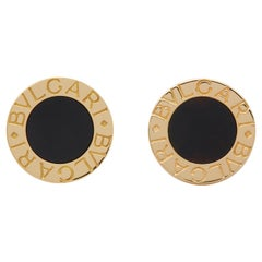 Bulgari 18 Karat Yellow Gold Onyx Disc Cufflinks