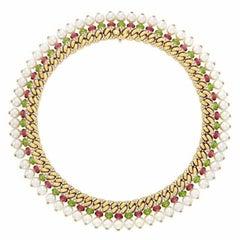 Bulgari 18 Karat Yellow Gold, Pearl, Diamond, Peridot and Tourmaline Necklace