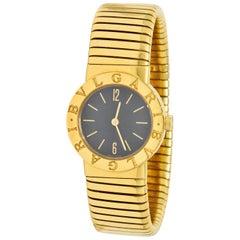 Bulgari 18 Karat Yellow Gold Tubogas Serpenti Flex Band Wristwatch