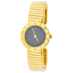 Bulgari 18 Karat Yellow Gold Tubogas Serpenti Flex Band Wristwatch