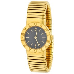 Bulgari 18 Karat Yellow Gold Tubogas Serpenti Flex Band Wristwatch Watch