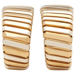 Bulgari 18 Karat Yellow, White and Rose Gold Tubogas Hoop Earrings