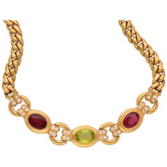 Bulgari 18 Karat Yellow Gold Diamonds Tourmalines Vintage Necklace