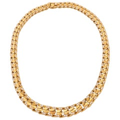 Bulgari 18 Karat Yellow Gold Diamonds Vintage Necklace