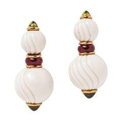Bulgari 18K Gold Ceramic Peridot and Pink Tourmaline Chandra Earrings