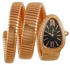 Bulgari rose Gold Diamond Serpenti Tubogas Wristwatch