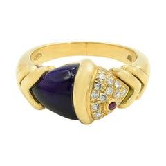 Bulgari 18K Yellow Gold Amethyst & Diamonds Naturalia Fish Ring