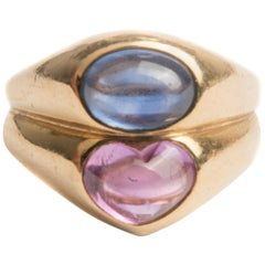 Bulgari 18k Yellow Gold and Pink and Blue Natural Sapphire Ring