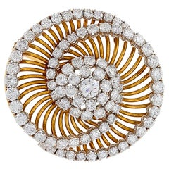 Bulgari 1950s Diamond and Gold 'Swirl' Brooch