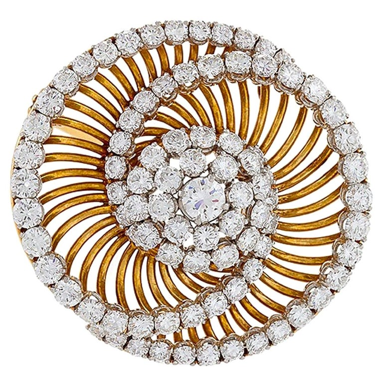 Bulgari Gold and Diamond Spiral Brooch  For Sale