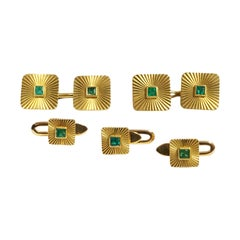 Bulgari 1950s Yellow Gold and Emerald Cufflink and Shirt Stud Tuxedo Dress Set