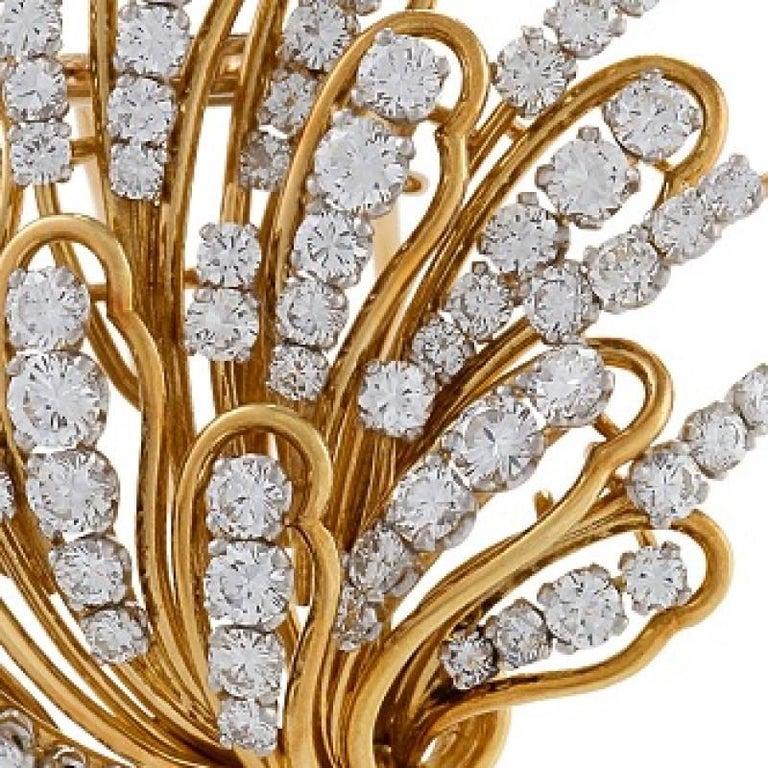 Women's Bulgari 1960s Diamond and Gold Flower Brooch For Sale