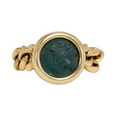 Bulgari 1970s Flexible Gold Ring Set with an Ancient Greek Coin Featuring Apollo