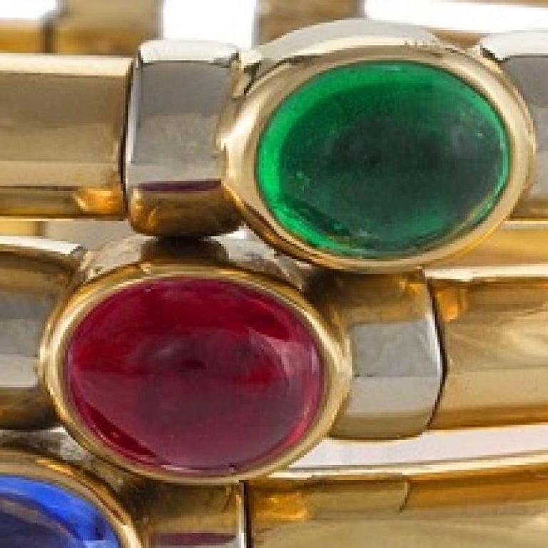 Women's Bulgari 1970s Sapphire Ruby Emerald and Gold Bangle Bracelet For Sale