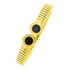 Bulgari 1980 Tubogas 18 Karat Gold Black Onyx Bracelet